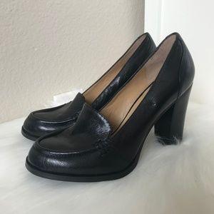 Black Nine West Heeled Penny Loafers